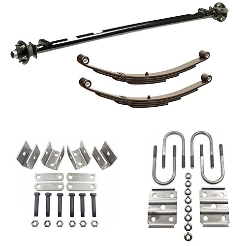 Rockwell American 3,500 lb Idler Trailer Axle w/Leaf Springs, U-Bolts & Hanger Kit- 5x4.5 Bolt Pattern (89