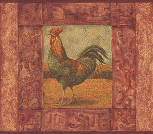Rooster Red Border (Cracked Red Frame Painting of Rooster Vintage Wallpaper Border Retro Design, Roll 15' x 7'')