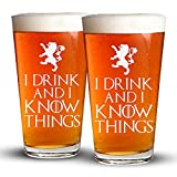 I Drink And I Know Things – 2 Pack – Engraved Beer Glass – Game Of Thrones Inspired – 16oz Clear Pint Glass – Funny Gifts for Men and Women by Sandblast Creations For Sale