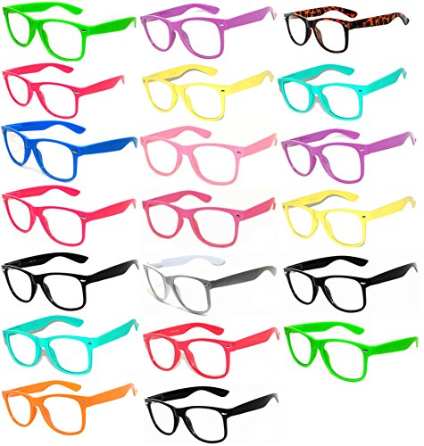 20-Pieces-Per-Case-Wholesale-Lot-Clear-Lens-Glasses-Assorted-Colored-Frame-Fashion-Glasses-Bulk-Glasses-Wholesale-Bulk-Nerdy-Party-Glasses-Party-Supplies