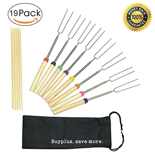 Marshmallow Roasting Sticks, Extendable Hot Dogs Shish Kabob Telescoping Barbecue Stainless Steel Grill Sticks with 10 Bamboo Skewers, Suitable for Fire Pit, Camping, Campfire, Free Bag
