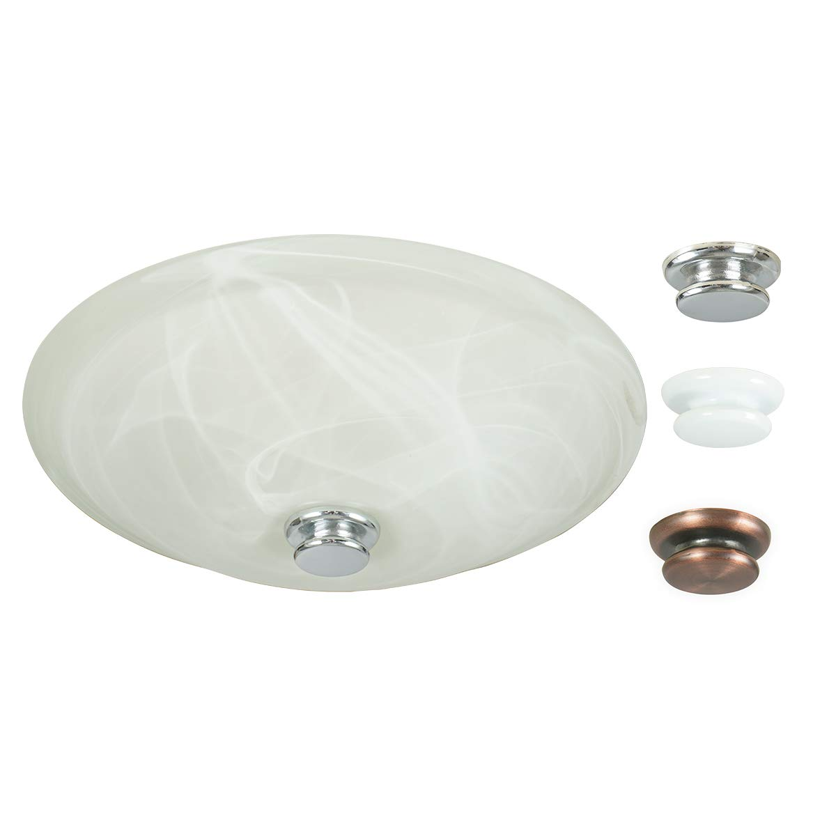 Hunter Home Comfort 80200a Boswell Decorative Bathroom Ventilation Fan with Light and 3 Interchangeable Finials Included (Chrome, White, and Oil-Rubbed Bronze), Various