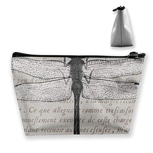 Vintage Dragonfly Antique Text Collage Print Tixing Travel Portable Cosmetic Bag Wristlet Pouch MultiFunction Make-up Bags