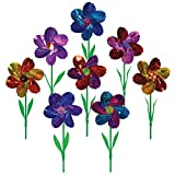In the Breeze Mylar Rainbow Flower Pinwheel with Leaves - Assorted 2 Tone Color Spinners - 8 Piece Bags