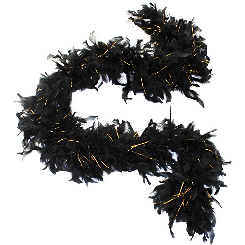 (45 grams Turkey Chandelle Feather Boas, Over 40 Colors & Patterns to Pick Up (Black with Gold)