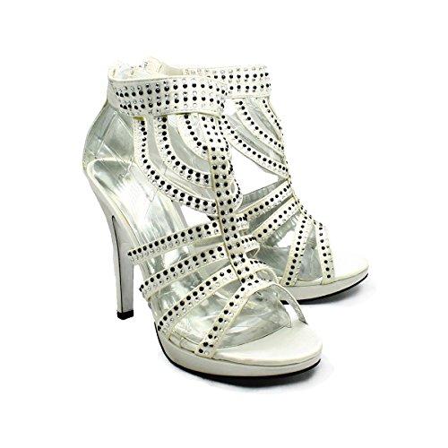 sendit4me Ivory Satin Shoes with black diamantes