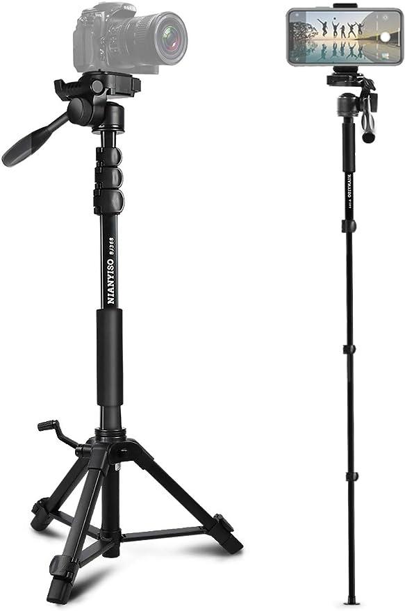 Canyixiu-tumi 62 Inch Tripod Detachable Monopod with Ball Head for DSLR Camera Color : Black, Size : One Size 150cm