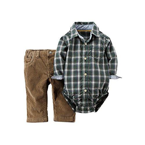 (Carter's Plaid Bodysuit & Corduroy Pants Set Baby Boy (3M))