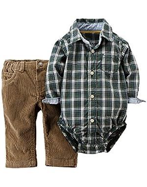 Carter's Plaid Bodysuit & Corduroy Pants Set Baby Boy