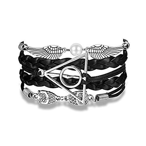 Braid Leather Black (Handmade Vintage Bracelet Golden Snitch Deathly Hallows Owls Black Leather Braid Rope Bangle Gift)