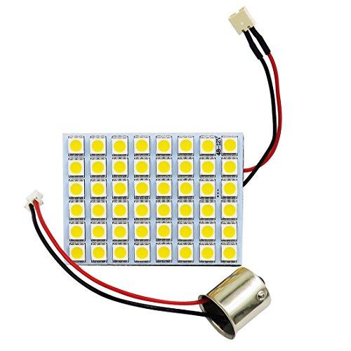 Pack 6,1156 1141 BA15S Adapter 12V DC 4W 520 Lumen Super Bright 5050 48-SMD LED Panel Dome Light LED Bulb (White 6000K-6700K)