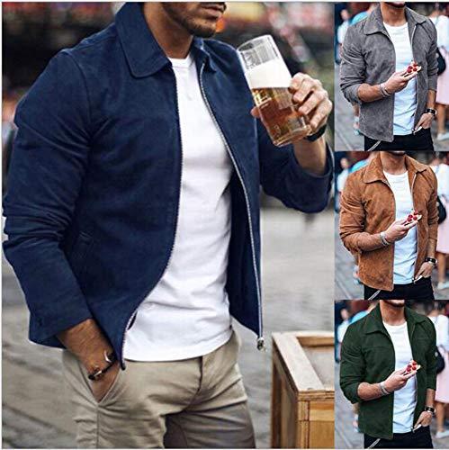 Huateng Manteau Chaud Jacket Windbreaker Noir Zipper Casual Outwear Hommes r7CqTr