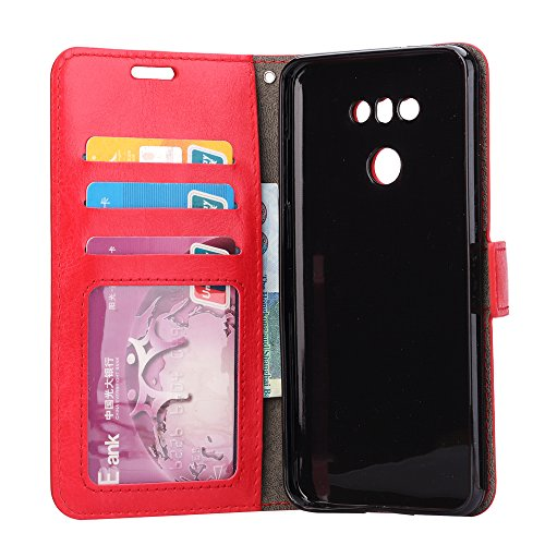 Funda LG G6, Cartera de cuero L2W Funda Premium PU Estilo de libro de cuero Flip Funda Funda con ranura para tarjetas e incluye Hard PC Hybrid Shell interior para LG G6 (5.7 pulgadas) - Negro rojo