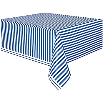 Royal Blue Striped Plastic Tablecloth, ...