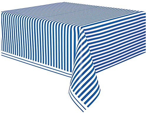 (Royal Blue Striped Plastic Tablecloth, 108