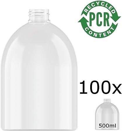 100% PCR – rPET Botella Neville Round, PET 500 ml Incluye cierre muy resistente, estable y de transporte SOSTENIBLE de botellas PET recicladas, 100 x 500 ml: Amazon.es: Hogar