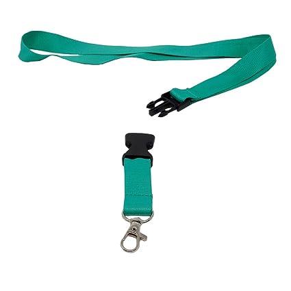 Llavero con banda para colgar del cuello SBS, 25 mm, 10 unidades, color verde