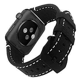 Apple Watch Bands, Kades Apple Watch Leather Band Nature Texture Genuine Nubuck Leather Strap Replacement Bracelet with Stainless Steel Buckle for iwatch 42mm Apple Watch Series 1 Series 2, Black