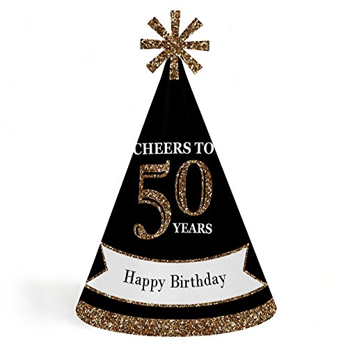 Adults 50th Birthday - Gold - Cone Birthday Party Hats for Kids and Adults - Set of 8 (Standard (50th Birthday Hats)