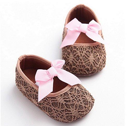 Baby Girl cómodo antideslizante Princess Toddler Zapatos rosa rosa Talla:12-18 meses marrón