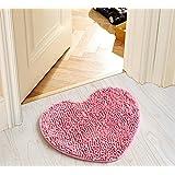 SU@DA Fashion Flannel Printed Door Mat Kitchen Bathroom Anti - skid Heart , pink , 50*60cm