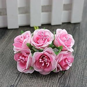 6 Pcs/LotMini Silk Daisy Artificial Rose Flowers Bouquet DIY Wedding Decoration Paper Flower For Scrapbooking Flower 6