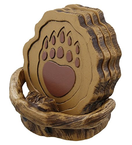 Rainbow Wholesale Inc. Bear Paw on Rustic Faux Wood Coaster Set - 4 Coasters Cub Decor