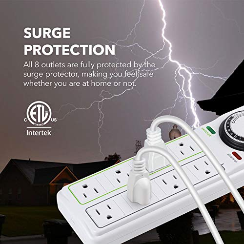 BN-LINK 8 Outlet Surge Protector with Mechanical Timer