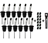 Free Flow Stainless Steel Liquor Bottle Speed Pourers with Tapered Spout, Comes with 24 Rubber Dust Caps and PNW Pocket Corkscrew, Set of 12, Black