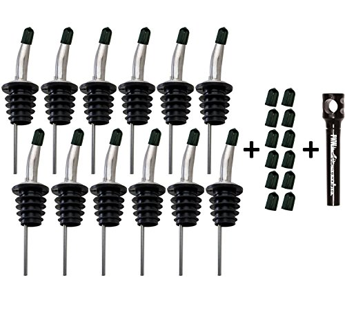 Free Flow Stainless Steel Liquor Bottle Speed Pourers with Tapered Spout, Comes with 24 Rubber Dust Caps and PNW Pocket Corkscrew, Set of 12, (Flow Liquor Pourer)