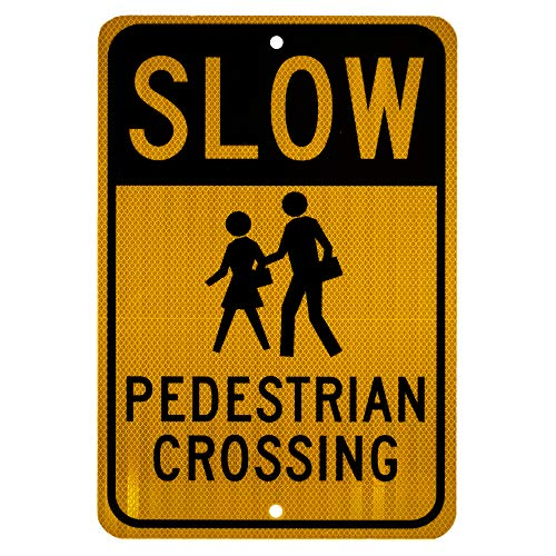 "NMC TM165J Traffic Sign, Legend ""SLOW - PEDESTRIAN CROSSING"" with Graphic, 12"" Length x 18"" Height, Engineer Grade Prismatic Reflective Aluminum 0.080, Black On Yellow"
