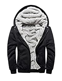 Men's Hooded Sweatshirt Full Zip Fleece Tall and Big Thick Jackets