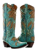 Cowboy Professional Women's Turquoise Summer Overlay Leather Cowboy Boots Snip Toe 8.5 BM