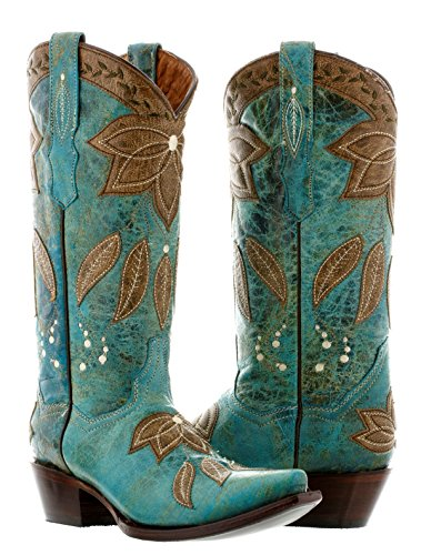 Cowboy Professional - Women's Turquoise Summer Overlay Leather Cowboy Boots Snip Toe 7 BM by Cowboy Professional