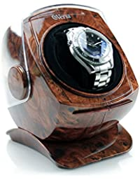 Automatic Single Watch Winder with Sliding Cover in Burlwood