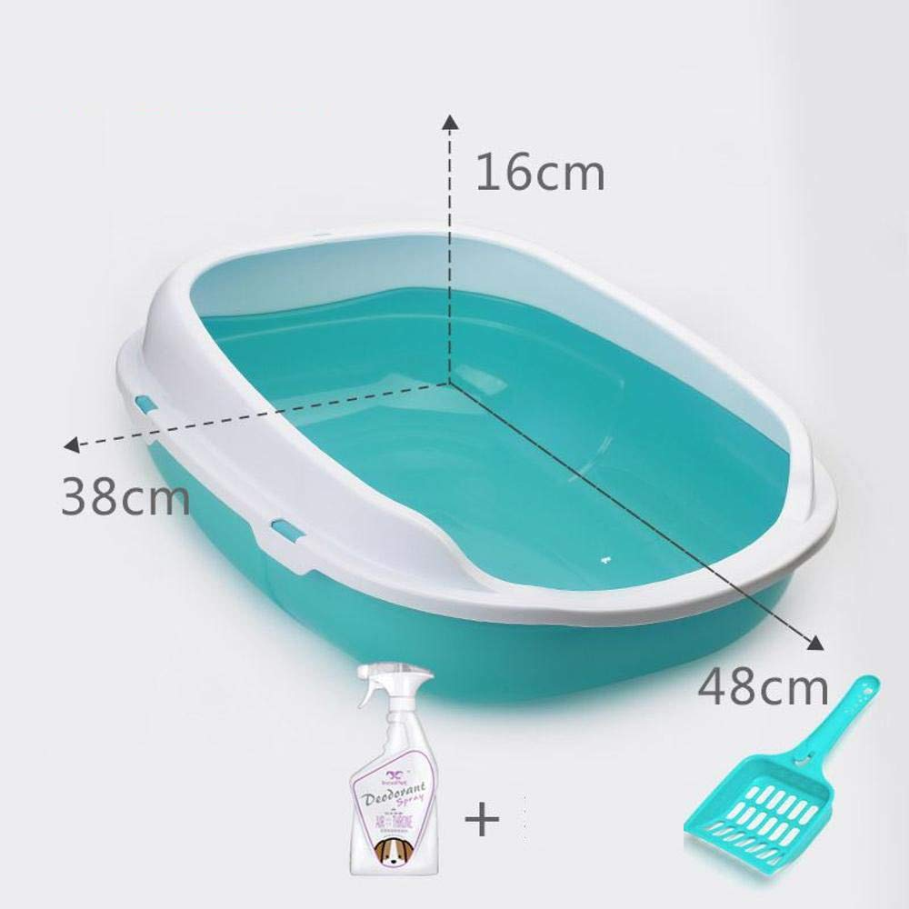 B 38x48x16cm B 38x48x16cm Axiba Pet toilet Cat litter basin double-walled sand basin semi-closed toilet cat open excrement bedpan