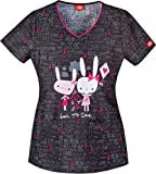 Dickies Medical Scrubs 82933CB Women's Jr. Fit V-Neck Top Love To Care Love To Care X-Small