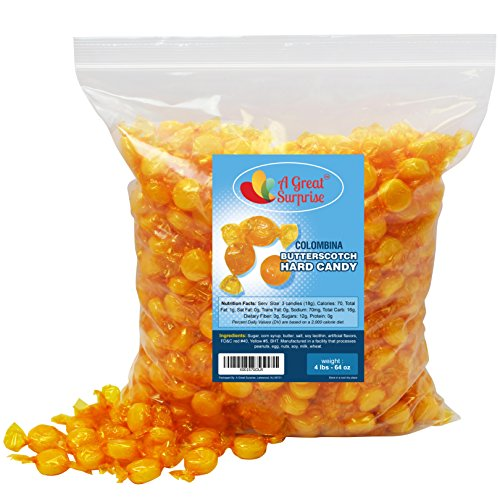 Butterscotch Hard Candy - Individually Wrapped Candy - Butterscotch Discs Buttons - Bulk Candy - 4 Pounds (Best Butterscotch Hard Candy)
