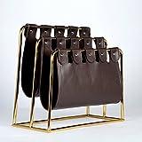 Magazine rack basket, Leather magazine holders Office debris basket Storage rack bathroom Storage rack Floor Simple For home and living room-brown 45x20x39cm(18x8x15inch)