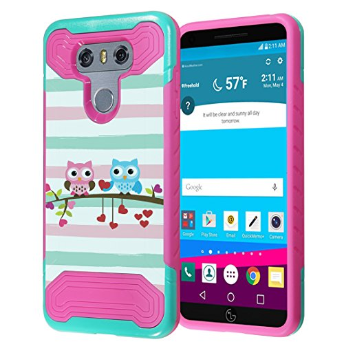 LG G6 Case, Capsule-Case Quantum Hybrid Dual Layer Slim Armor Case (Teal Mint Green & Pink) for LG G6 (2017) - (Cute (Lg Quantum Screen)