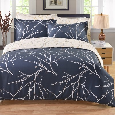 ZHIMIAN Reversible 3 Piece Branch Print Floral Duvet Cover Set with Zipper Closure