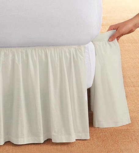 Cotton Bedskirt Detachable (King Gathered Detachable Bed Skirt, 14 Inch Drop, Natural)
