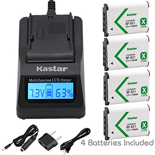 Kastar Fast Charger and Battery (4-Pack) for Sony NP-BX1, M8 and Cyber-shot DSC-HX50V, HX300, RX1, RX1R, RX100, RX100M, RX100M3, WX300, HDR-AS10, AS15, AS30V, AS100V, AS100VR, CX240, MV1, PJ275 Camera