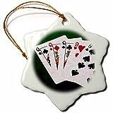 3dRose Alexis Photo-Art - Poker Hands - Poker Hands Full House Queen Nine - 3 inch Snowflake Porcelain Ornament (orn_270309_1)