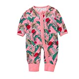 Janly For 0-2 Years Old Baby, Toddler Girls Floral Printed Jumpsuit Infant Zipper Romper Pajamas (12-18 Months, Pink)