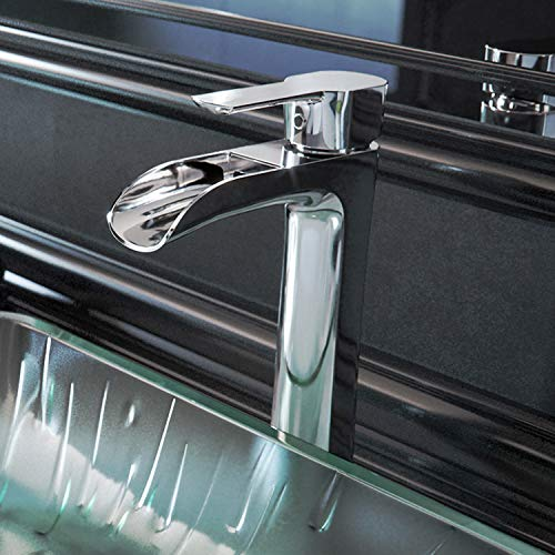 8 inch Single Handle Bathroom Faucet, Deck Mount Lavatory Vessel Waterfall Design with Plated Seven Layer Chrome Faucet Finish ()