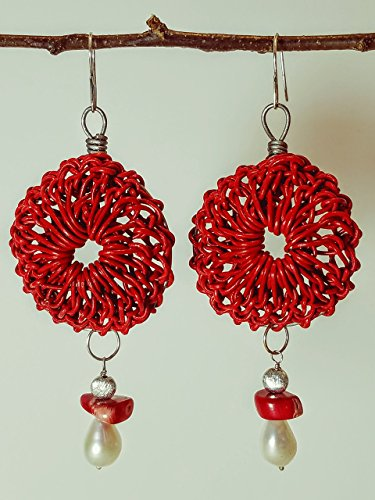 Red Leather Rosette Earrings on Titanium Hoops with Tahitian Coral, Sea Pearl & Brushed Sterling on Sterling Silver Earwires - 100% Handmade (Tahitian Designer Earrings)
