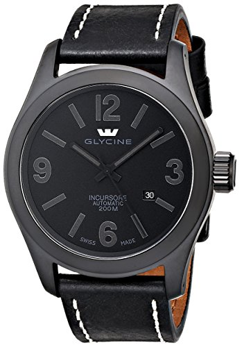 Glycine-Mens-3874-999-LB9B-Incursore-Stainless-Steel-Automatic-Watch-with-Black-Leather-band