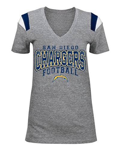 Diego Womens San Chargers (NFL Ladies Tri-Blend V-Neck Tee, San Diego Chargers, Small)