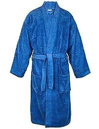 BC BARE COTTON 100% Turkish Men Terry Kimono Robe, Small/Medium, Royal Blue